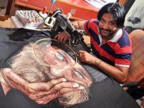 这位印度男人,用缝纫机作画,当看到作品后,佩服不已