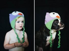 爸爸用对比照片来表达 他对女儿和狗的爱