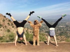 妻子和狗狗陪男子做减肥锻炼