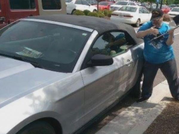 雅典男子砸车窗救狗  被警察逮捕