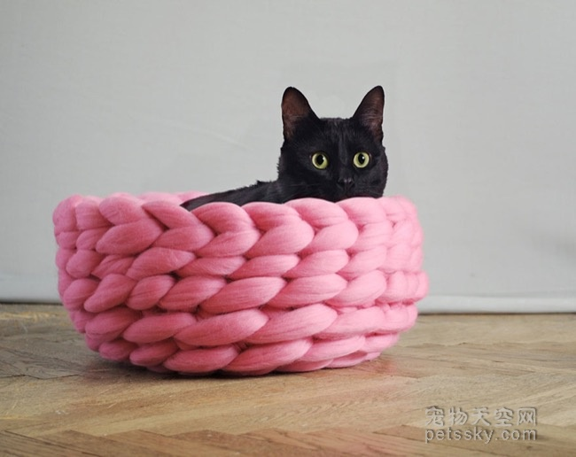 纯手工的针织宠物床