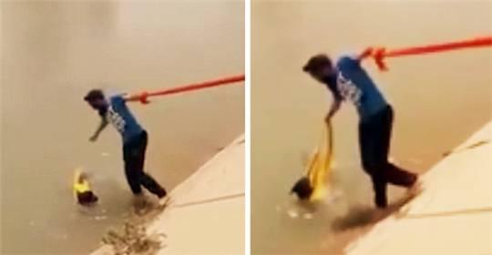 他冒着不尊重信仰的风险 只为了救一只意外落水的狗狗