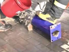 消防员割管道救流浪猫咪 喵星人被救后溜得很快