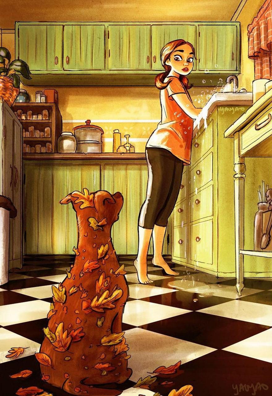 女孩绘制自己与狗狗的日常生活,画风有些感人(19张)