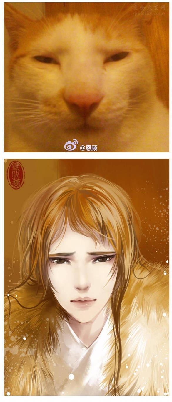 """画师雪代薰的作品:将宠物""""幻画""""成古风少年"""