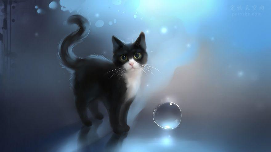 几幅风格迥异的猫画(8张)
